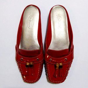 Talbots Red Patent Leather Mules Sz 6B